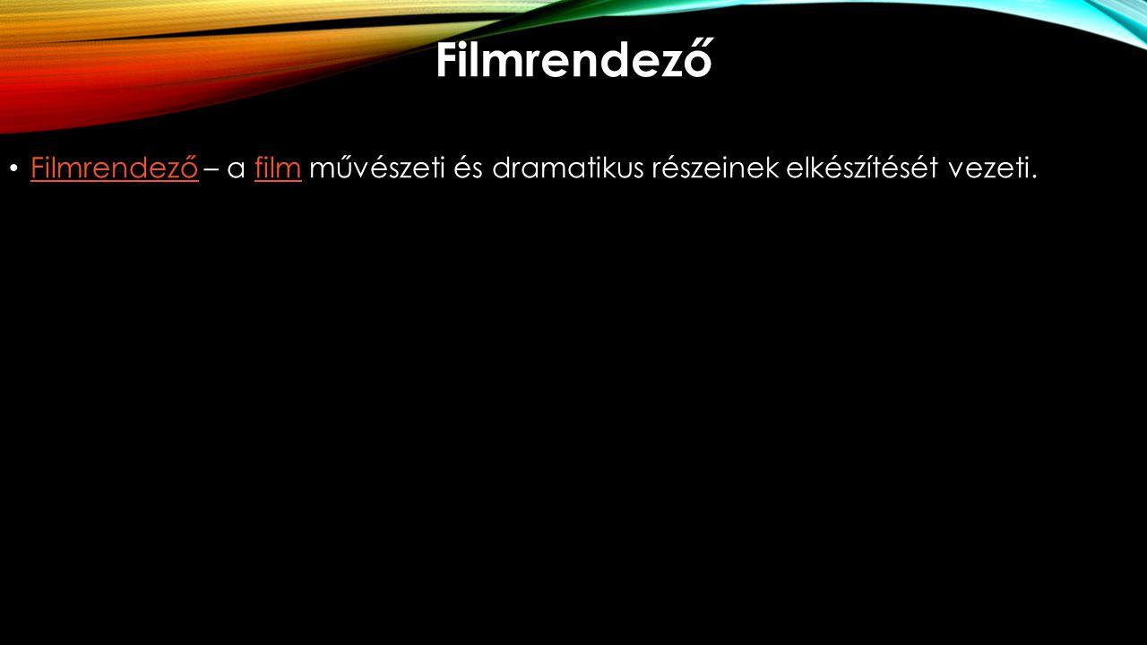 Filmrendező Filmrendező – a film művészeti és dramatikus részeinek elkészítését vezeti.