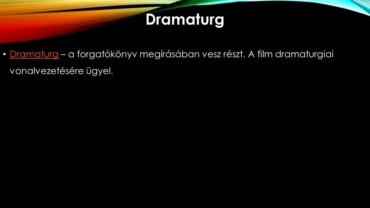 Dramaturg Dramaturg – a forgatókönyv megírásában vesz részt.
