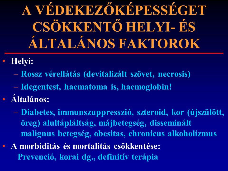 A VÉDEKEZŐKÉPESSÉGET CSÖKKENTŐ HELYI- ÉS ÁLTALÁNOS FAKTOROK