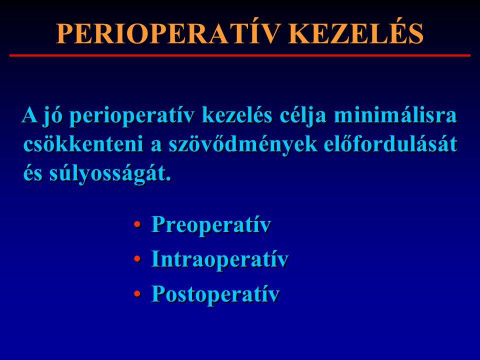 PERIOPERATÍV KEZELÉS Preoperatív Intraoperatív Postoperatív