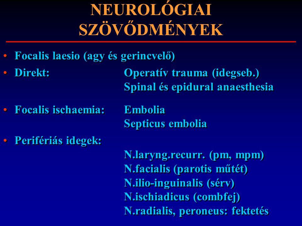 NEUROLÓGIAI SZÖVŐDMÉNYEK