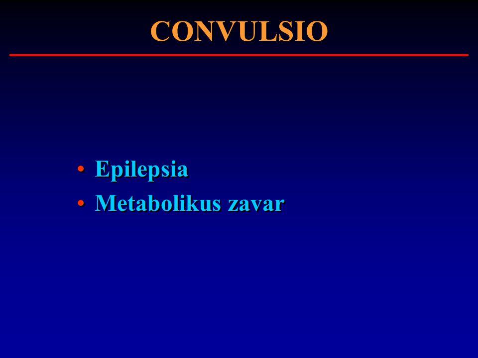CONVULSIO Epilepsia Metabolikus zavar