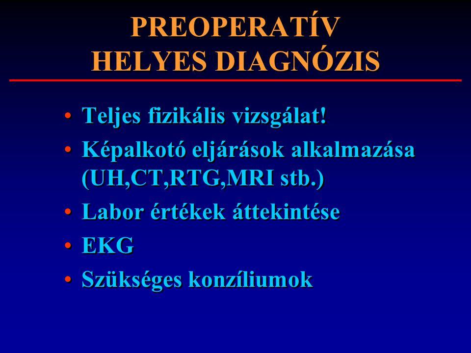 PREOPERATÍV HELYES DIAGNÓZIS
