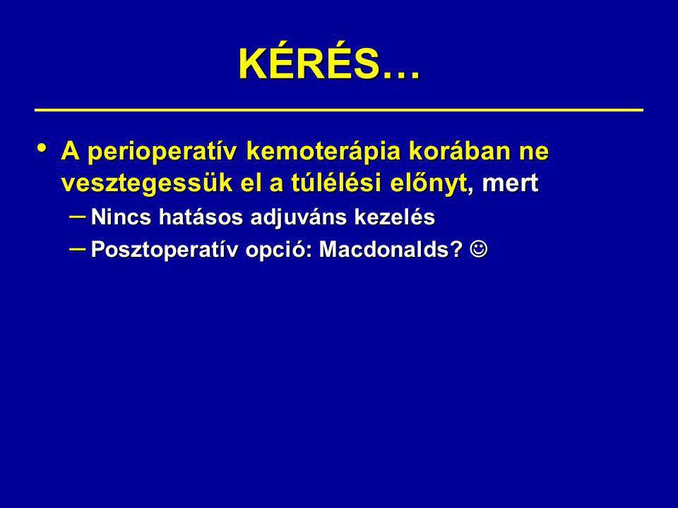 KÉRÉS… A perioperatív kemoterápia korában ne vesztegessük el a túlélési előnyt, mert. Nincs hatásos adjuváns kezelés.