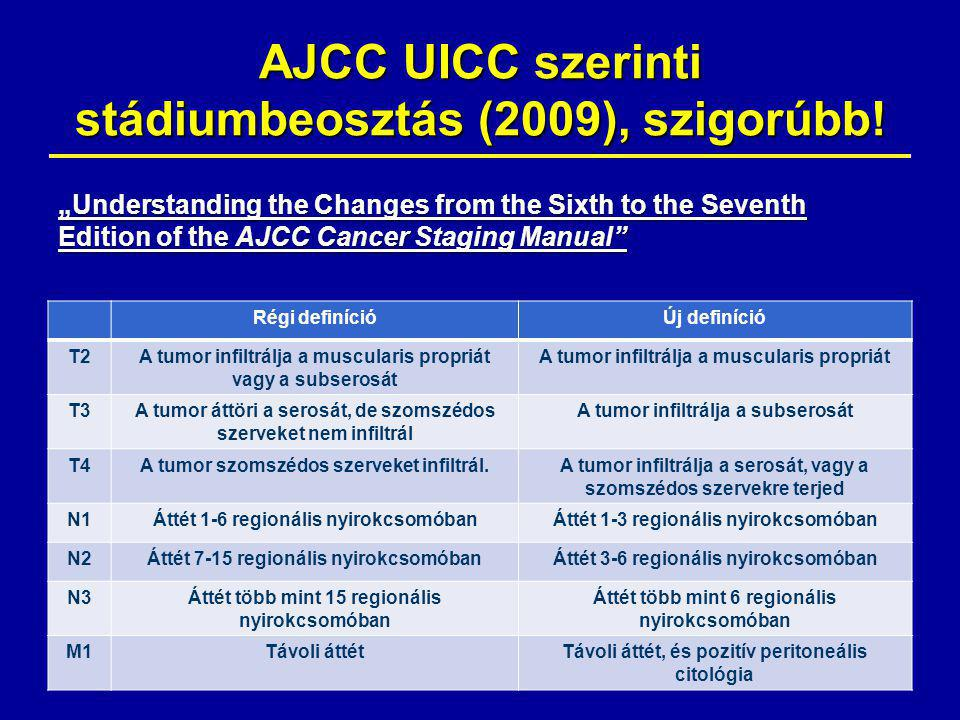 AJCC UICC szerinti stádiumbeosztás (2009), szigorúbb!