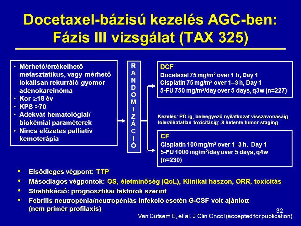 Docetaxel-bázisú kezelés AGC-ben: Fázis III vizsgálat (TAX 325)