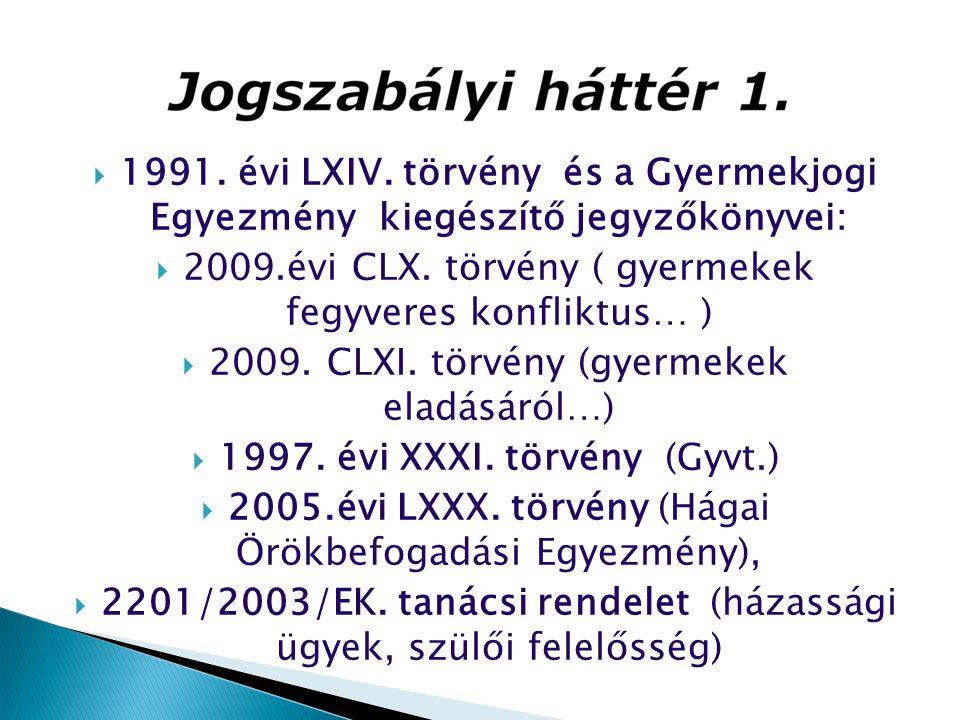 2009.évi CLX. törvény ( gyermekek fegyveres konfliktus… )