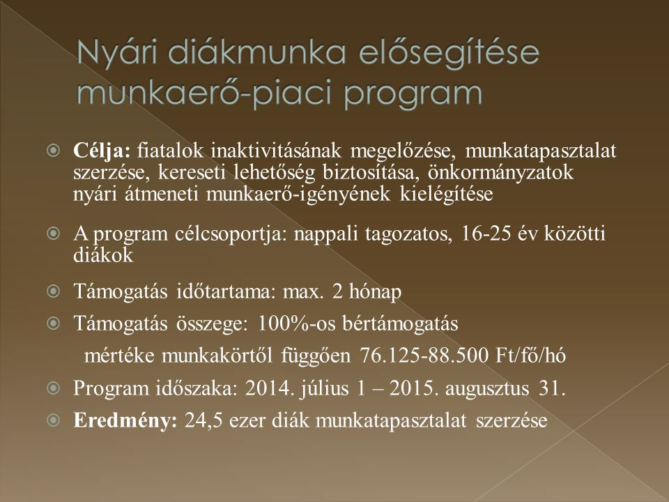 Nyári diákmunka elősegítése munkaerő-piaci program