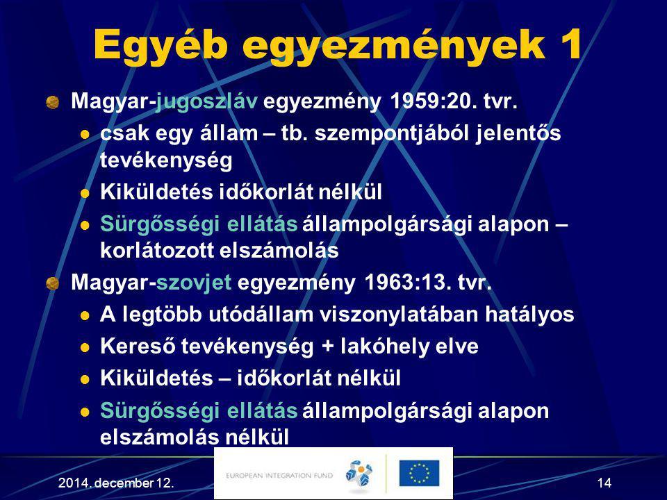 Egyéb egyezmények 1 Magyar-jugoszláv egyezmény 1959:20. tvr.