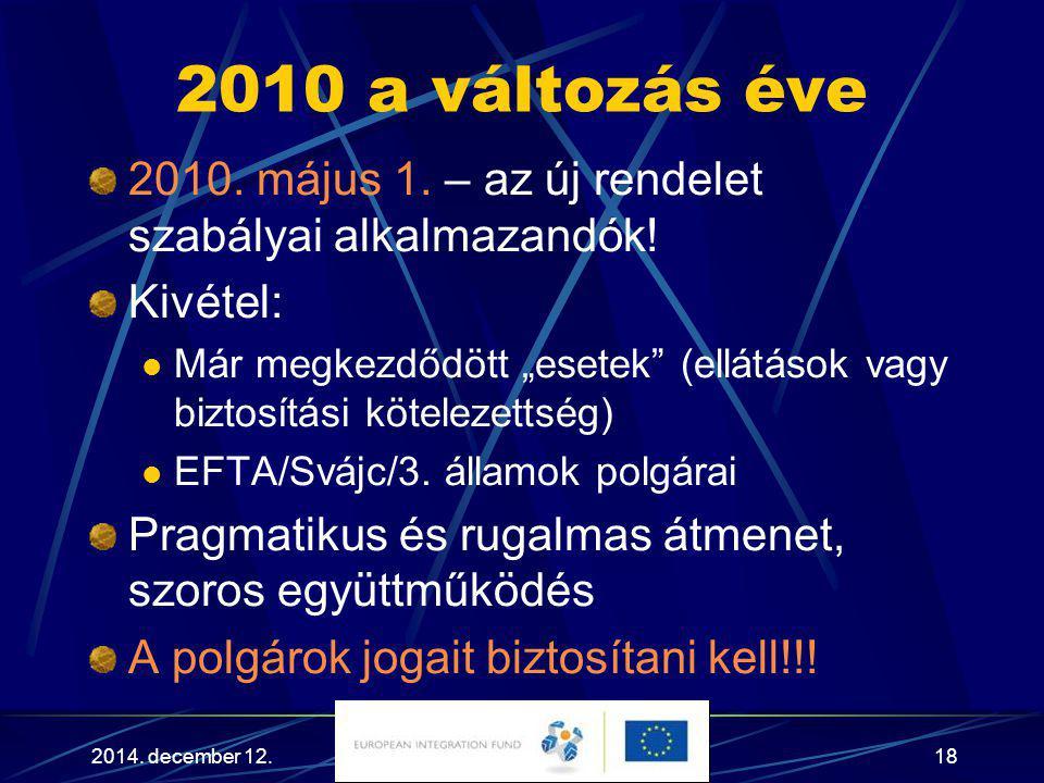 2010 a változás éve 2010. május 1. – az új rendelet szabályai alkalmazandók! Kivétel:
