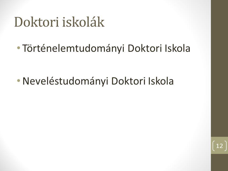 Doktori iskolák Történelemtudományi Doktori Iskola
