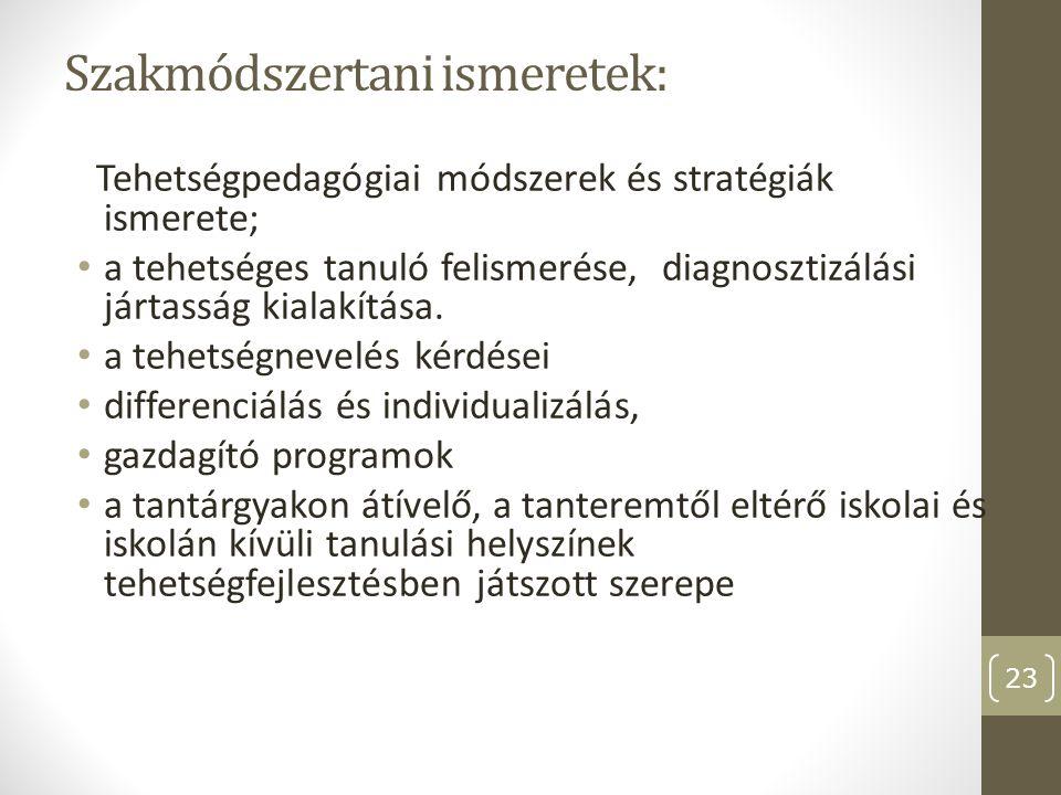 Szakmódszertani ismeretek: