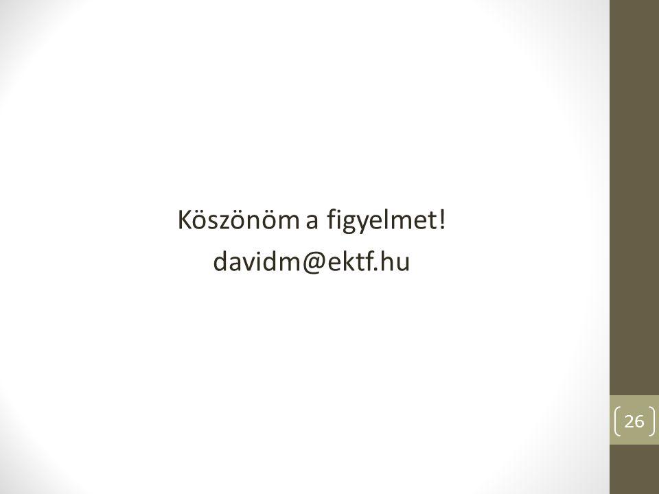 Köszönöm a figyelmet! davidm@ektf.hu
