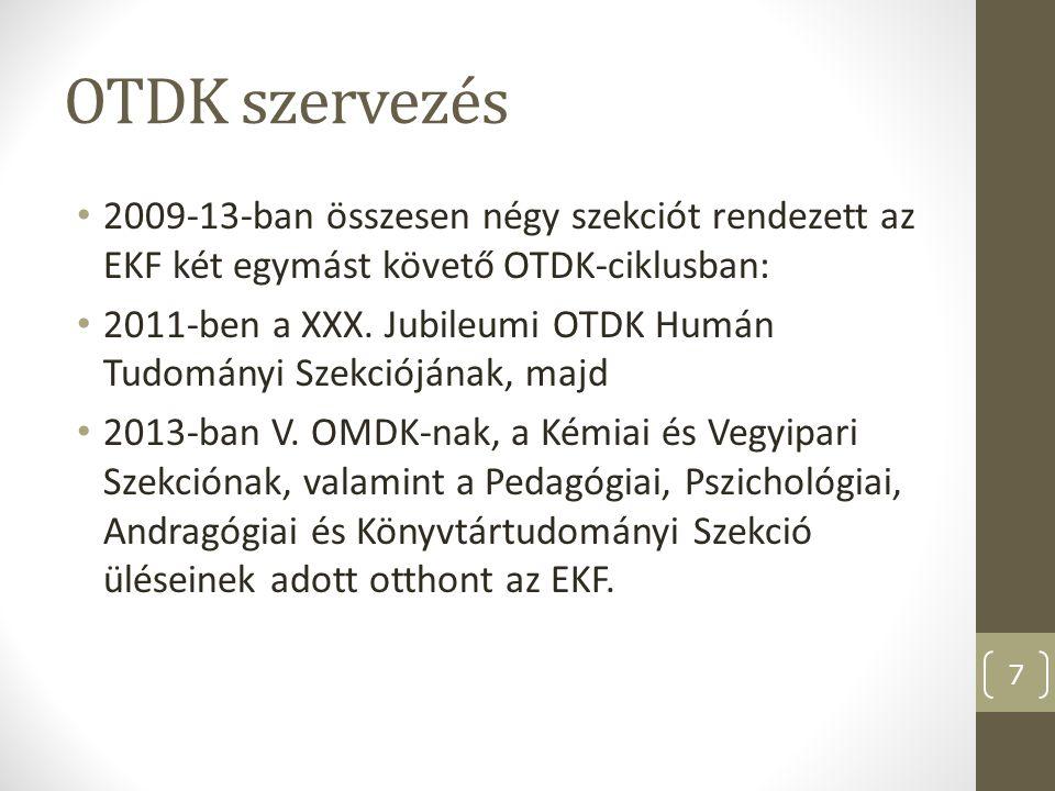 OTDK szervezés 2009-13-ban összesen négy szekciót rendezett az EKF két egymást követő OTDK-ciklusban: