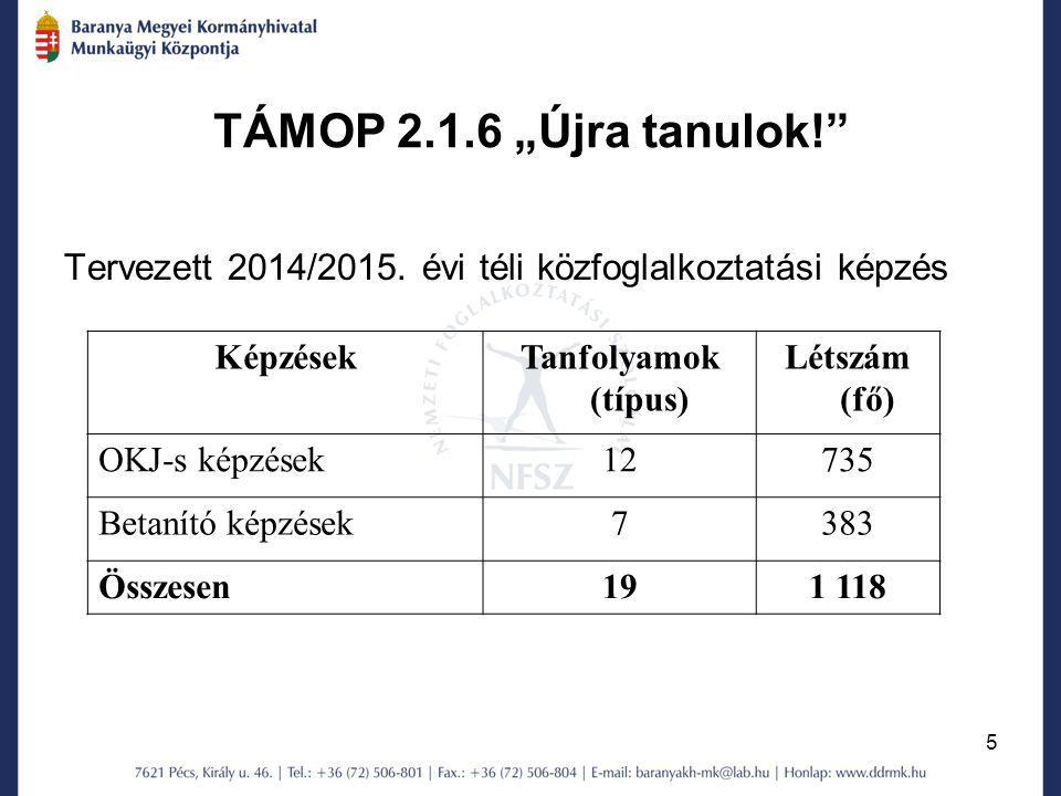 """TÁMOP 2.1.6 """"Újra tanulok! Tervezett 2014/2015. évi téli közfoglalkoztatási képzés. Képzések. Tanfolyamok (típus)"""