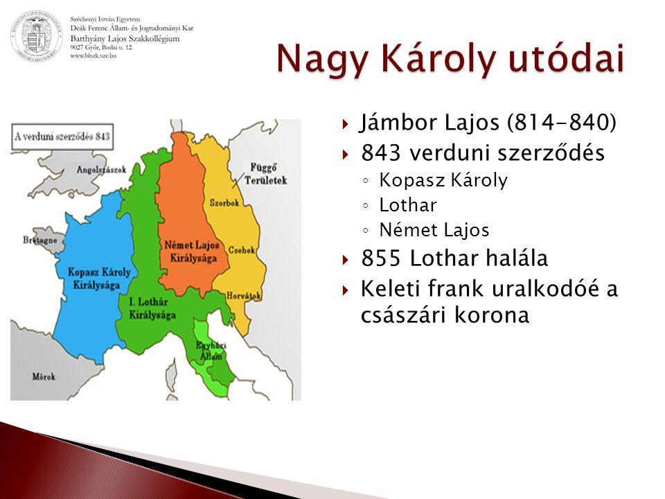 Nagy Károly utódai Jámbor Lajos (814-840) 843 verduni szerződés