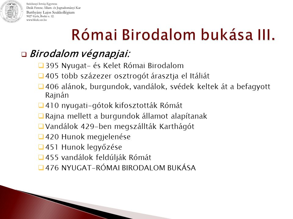 Római Birodalom bukása III.