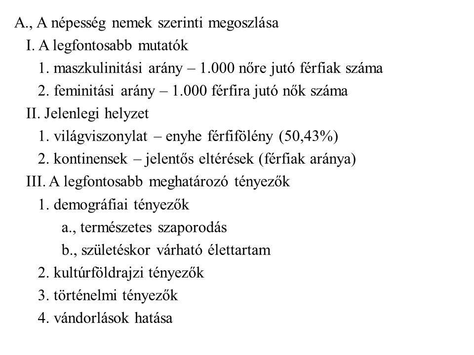A. , A népesség nemek szerinti megoszlása I. A legfontosabb mutatók 1