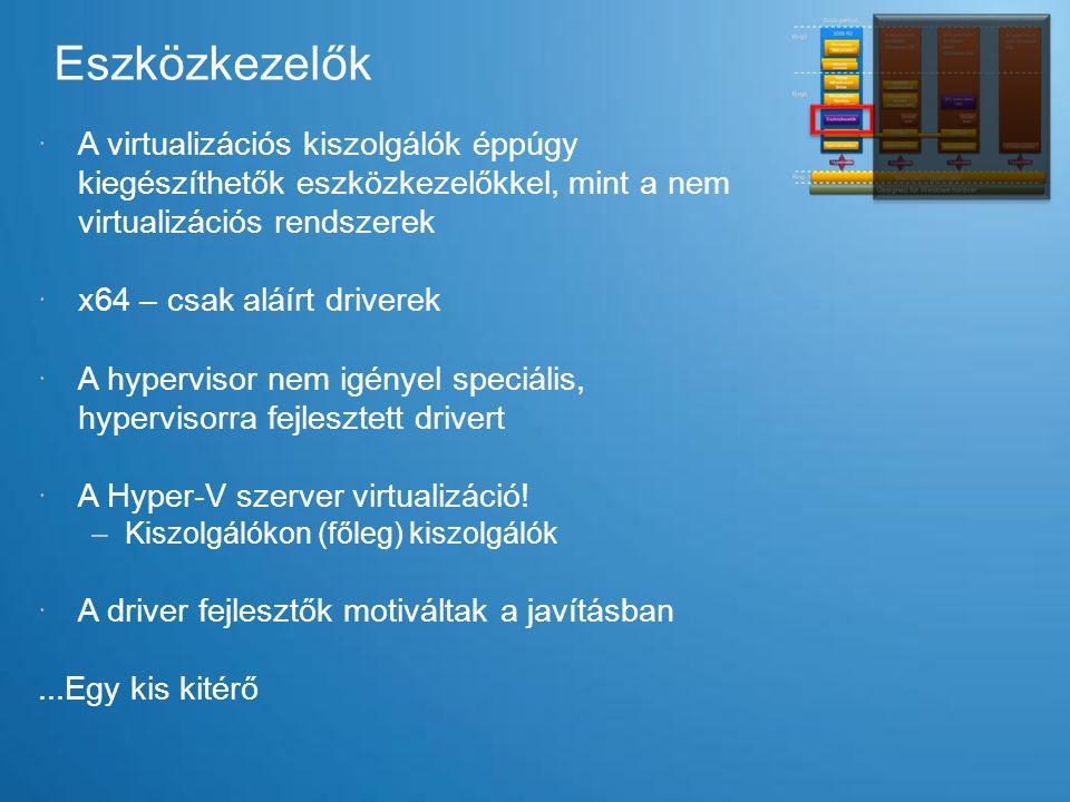 Eszközkezelők A virtualizációs kiszolgálók éppúgy kiegészíthetők eszközkezelőkkel, mint a nem virtualizációs rendszerek.