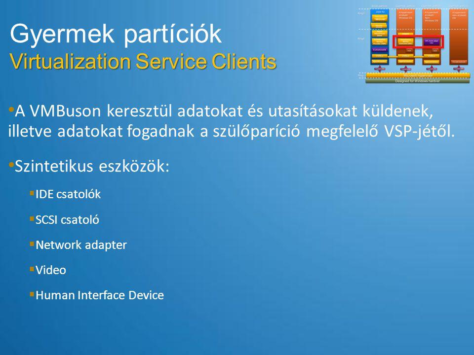 Gyermek partíciók Virtualization Service Clients