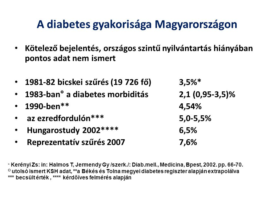 A diabetes gyakorisága Magyarországon