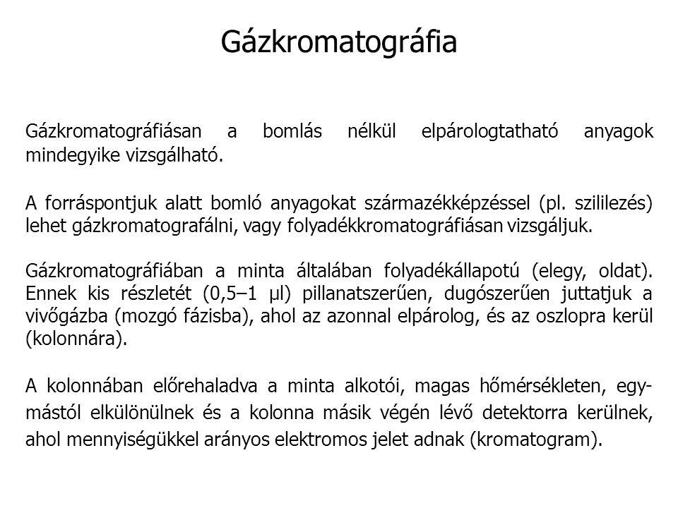 Gázkromatográfia Gázkromatográfiásan a bomlás nélkül elpárologtatható anyagok mindegyike vizsgálható.
