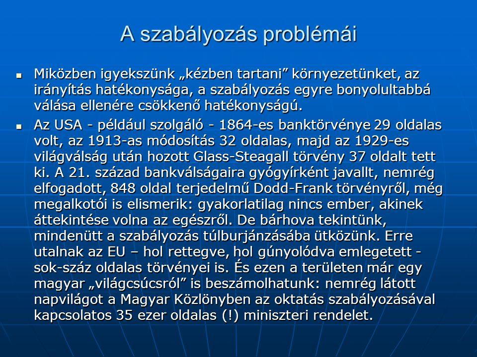 A szabályozás problémái