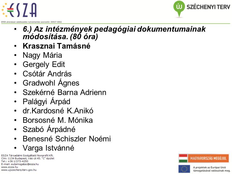 6.) Az intézmények pedagógiai dokumentumainak módosítása. (80 óra)