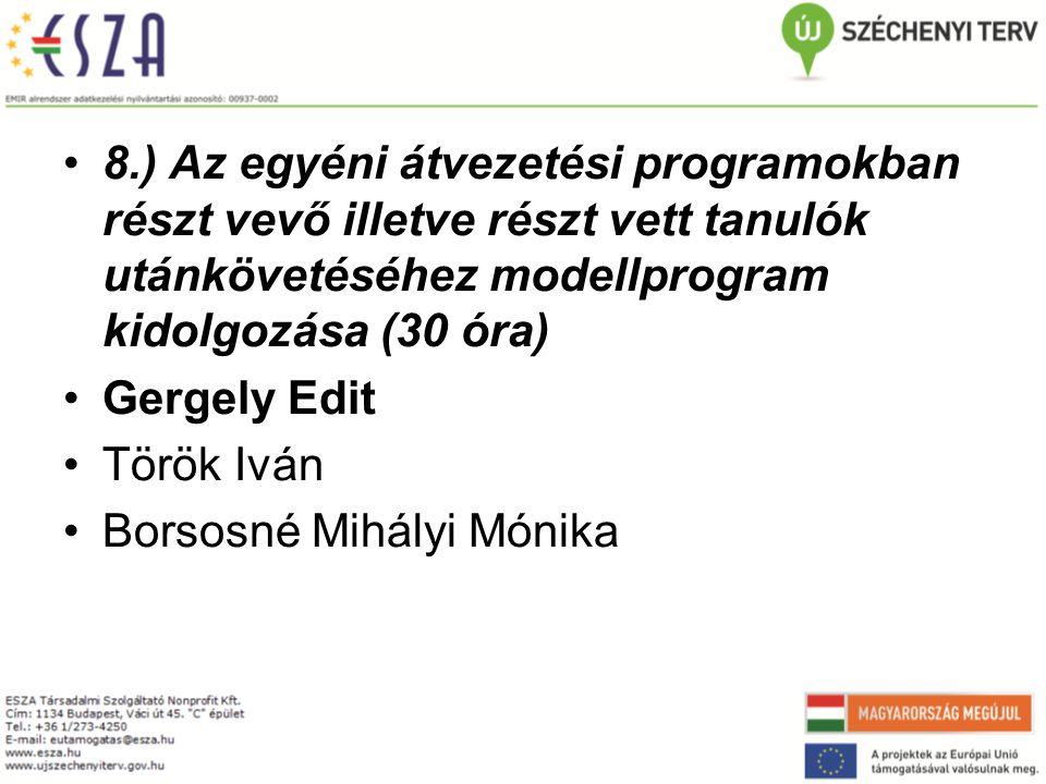 8.) Az egyéni átvezetési programokban részt vevő illetve részt vett tanulók utánkövetéséhez modellprogram kidolgozása (30 óra)