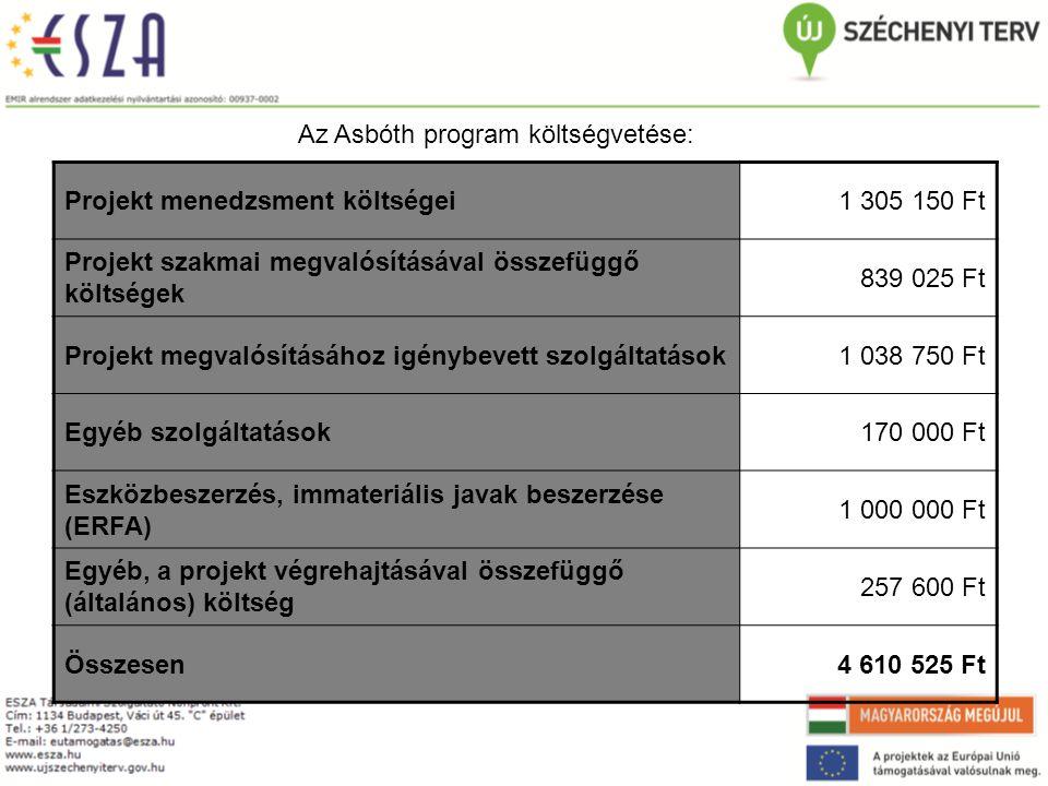 Az Asbóth program költségvetése: