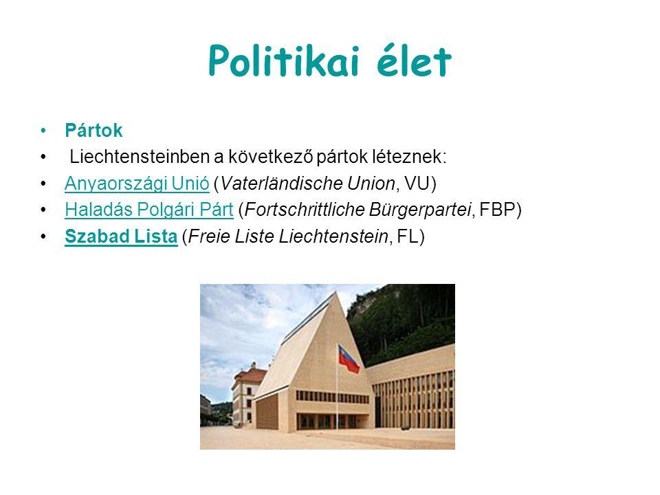 Politikai élet Pártok Liechtensteinben a következő pártok léteznek: