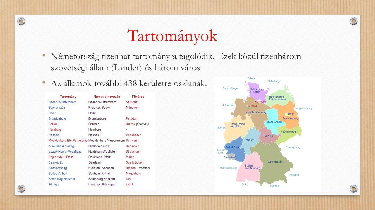 Tartományok Németország tizenhat tartományra tagolódik. Ezek közül tizenhárom szövetségi állam (Länder) és három város.
