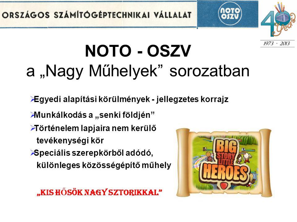 """NOTO - OSZV a """"Nagy Műhelyek sorozatban"""