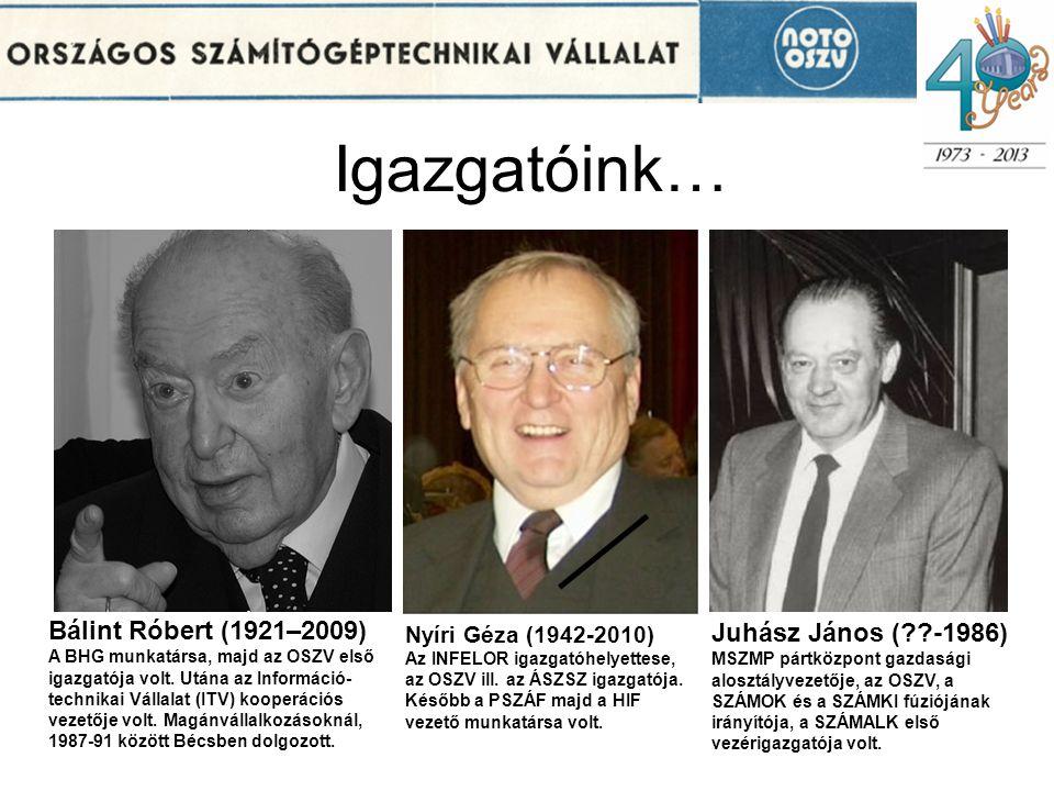 Igazgatóink… Bálint Róbert (1921–2009) Juhász János ( -1986)