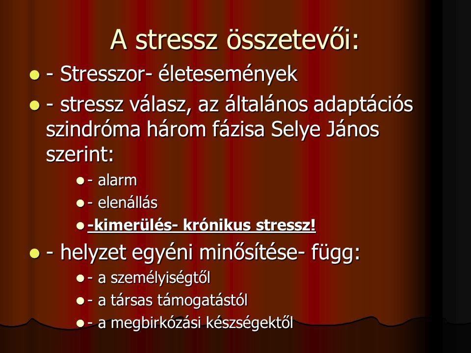 A stressz összetevői: - Stresszor- életesemények