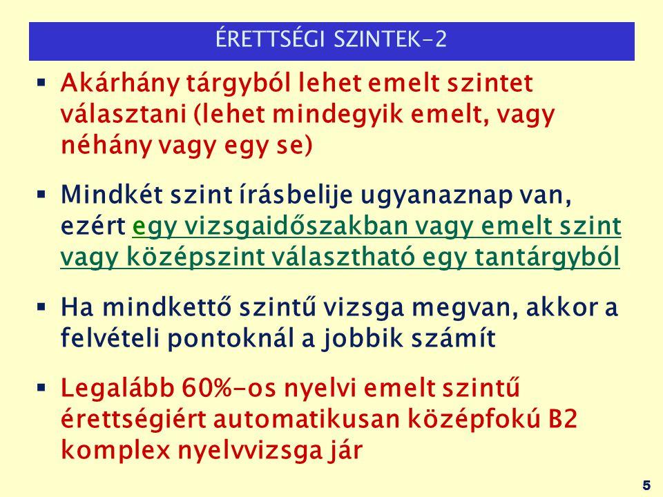 ÉRETTSÉGI SZINTEK-2 Akárhány tárgyból lehet emelt szintet választani (lehet mindegyik emelt, vagy néhány vagy egy se)
