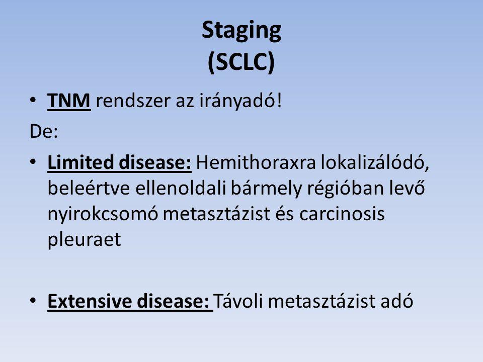 Staging (SCLC) TNM rendszer az irányadó! De: