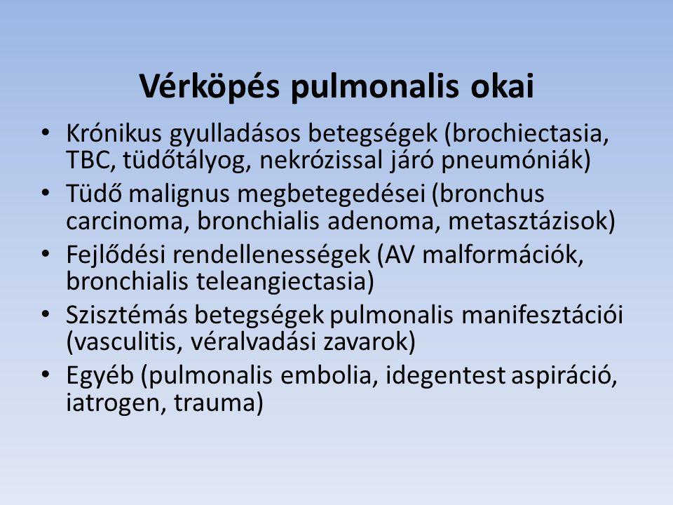 Vérköpés pulmonalis okai