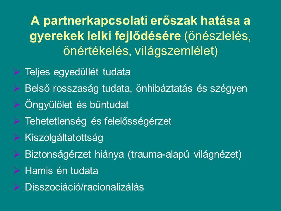 A partnerkapcsolati erőszak hatása a gyerekek lelki fejlődésére (önészlelés, önértékelés, világszemlélet)