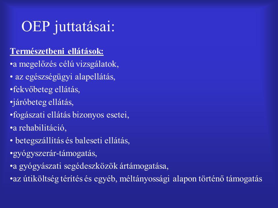 OEP juttatásai: Természetbeni ellátások: a megelőzés célú vizsgálatok,