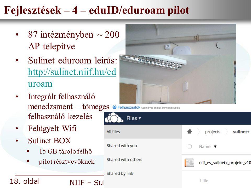 Fejlesztések – 4 – eduID/eduroam pilot