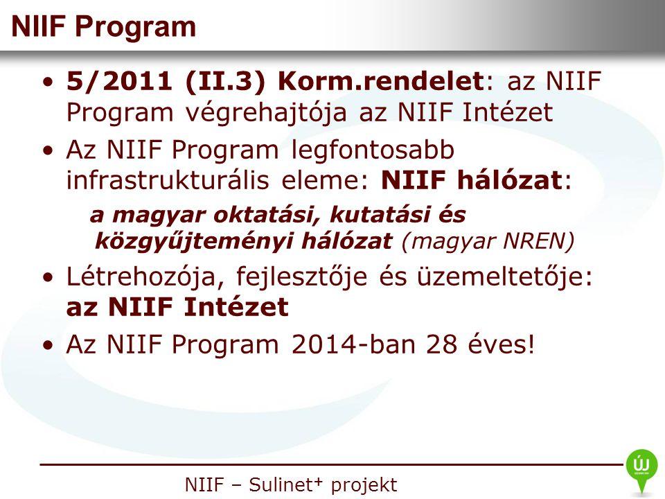 NIIF Program 5/2011 (II.3) Korm.rendelet: az NIIF Program végrehajtója az NIIF Intézet.