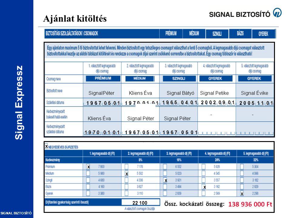Ajánlat kitöltés 138 936 000 Ft Össz. kockázati összeg: SignalPéter