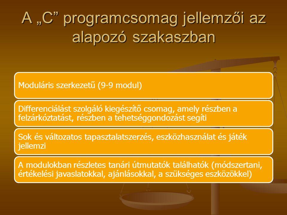 """A """"C programcsomag jellemzői az alapozó szakaszban"""