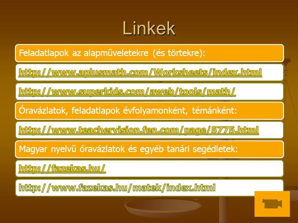 Linkek Feladatlapok az alapműveletekre (és törtekre):