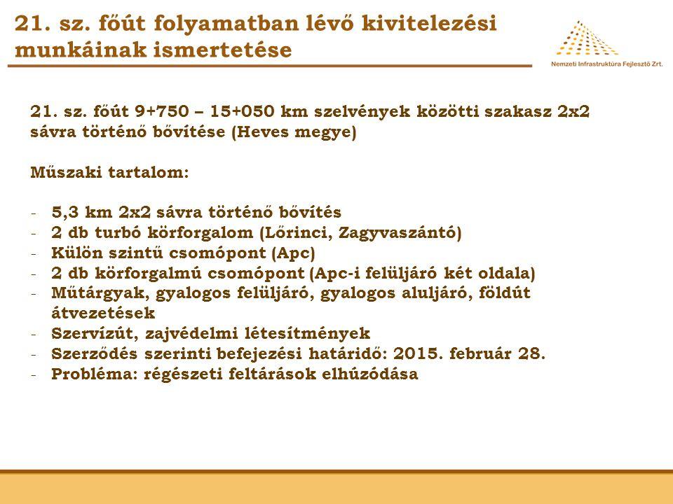 21. sz. főút folyamatban lévő kivitelezési munkáinak ismertetése