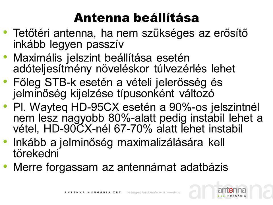 Antenna beállítása Tetőtéri antenna, ha nem szükséges az erősítő inkább legyen passzív.