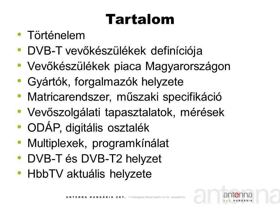 Tartalom Történelem DVB-T vevőkészülékek definíciója