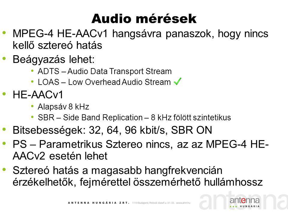 Audio mérések MPEG-4 HE-AACv1 hangsávra panaszok, hogy nincs kellő sztereó hatás. Beágyazás lehet: