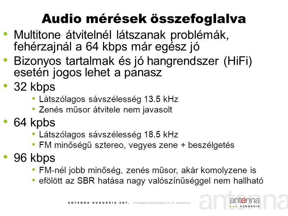 Audio mérések összefoglalva